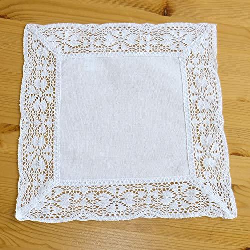 heimtexland Deckchen Weiß Landhaus Häkelspitze 30x30 Mitteldecke Tischdecke gehäkelt Typ521