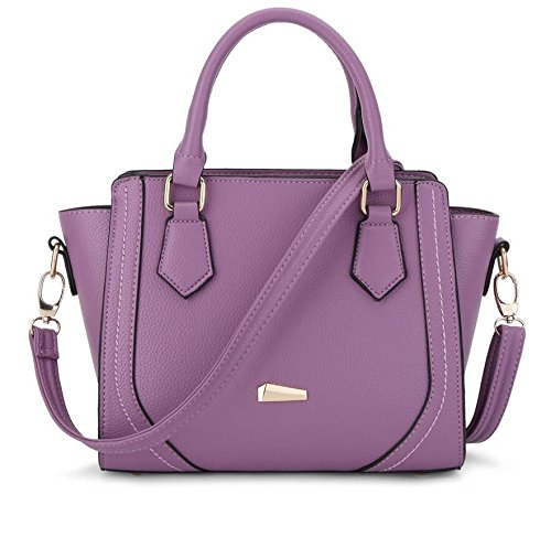 HQYSS Damen-handtaschen PU-lederner OL Pendler-große Kapazitäts-Frauen-Schulter-Kurier-Beutel-feste Farben-justierbare Einkaufstasche Abnehmbare Crossbody Tasche purple