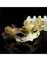 zllyl Máscaras Máscara de Halloween Media Cara Masquerade Princesa Máscara Diamante Venecia Máscara de Cobre Un