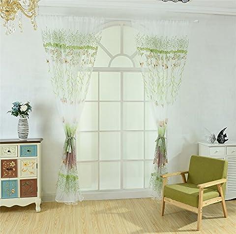 alkyoneus Romantische Schlafzimmer Fenster Schmetterling Baum Sheer Vorhang Raumteiler Home Decor, grün, 100cm x 270cm