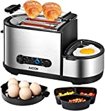 Toaster, Aicok 5-in-1 Toaster with Egg Boiler and Poachers, 2 Slice Toaster with Mini Frying Pan, Steamer, Wide Slot, 7 Modes of Browning Control, 1250 W, Stainless Steel Silver