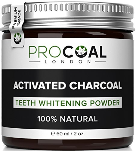 - 51Mbp g4pgL - Activated Charcoal Natural Teeth Whitening Powder by PROCOAL (Premium Grade Activated Charcoal) – Made in UK, 100% Natural, Vegan, Cruelty-Free & Fluoride-free 60ml per unit