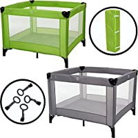 Baby Play Pen with Mattress (100x100 cm) + 4 Cross Rings (Grey)