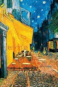 Poster 420 mural géant 183 x 254 cm Reproduction Terrasse de Café la Nuit de Vincent van Gogh en 4 parties grandes dimensions