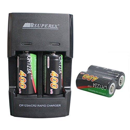 SUPEREX® 4 Stücke CR123 16340 wiederaufladbare aufladbare ladbare Batterien rechargeable battery smart charger digital kamera Photo camcorder + Akku Ladegerät für 3V 400mAh CR123A Lithium-Ionen Schnellladegerät Externe Akkus schwarz