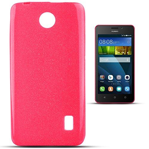 Moozy Silikon Handy Hülle mit Glitzer für Huawei Ascend Y635, Neonrosa - Ultra dünne Candy Shine Jelly Case