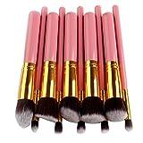 GODGETS 10 Kit de Pinceau Maquillage Professionnel 10PCS Eyebrow Shadow Blush Fond de Teint Anti-Cerne,Or Rose,10 Pièces