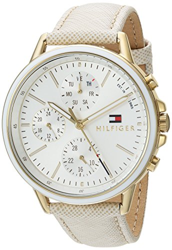 Tommy Hilfiger Women's 'Sport' Quartz Gold-Tone and Leather Casual Watch, Color:Champagne (Model: 1781790)
