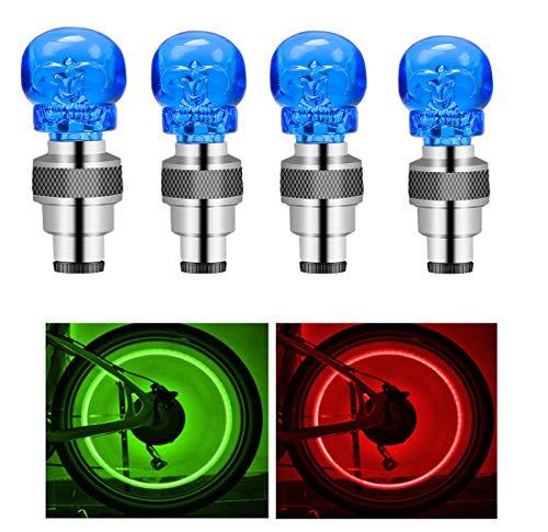 Suweor upo 8 Stücke LED wasserdichte Reifen Ventilkappen Neonlicht Auto Zubehör Fahrradlicht Auto, LED Ventil Kappen, Reifen Beleuchtung, Speichen Licht für Fahrrad, Auto, Motorrad oder LKW (Blau)