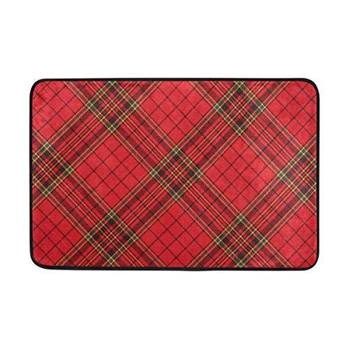 Fußmatten Red Plaid Gingham Karierte Fußmatte 15.7 x 23.6, Wohnzimmer Schlafzimmer Küche Badezimmer Dekorative Einzigartige Leichte Gedruckte Teppiche