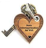 Mr. & Mrs.Panda, llavero en forma de corazón, 100% fabricado en Alemania del Norte, bambú, regalo en forma de corazón para seres queridos, amuleto de la suerte, llavero, ideal para regalar, colgante de madera con corazón
