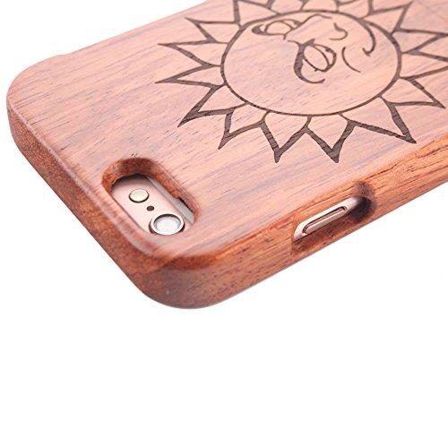 Holzhülle für iPhone 6 6S - Forepin® Rosenholz Ultra Slim Echtem Holz Etui Natürliche Handgemachte Wood Case mit Hart Back Cover Bumper Schutzhülle für Ihr iPhone 6 6S 4.7 Zoll Smartphone, Löwe Sonne