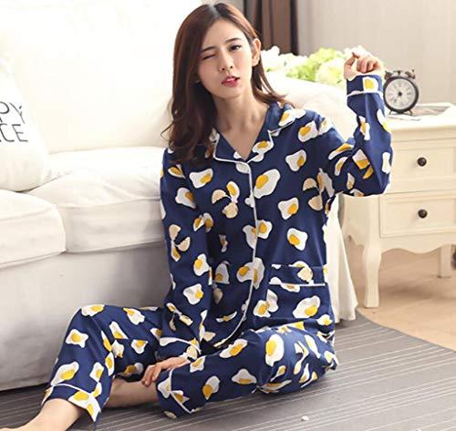 Marcus R Caveggf Damen Pyjama Set Damen große Größe Lange Ärmel Hose Baumwolle Lace Floral Cardigan Button 5XL DREI Farboptionen Herbst Winter Nachtwäsche als Geschenk, XL /120-140 kg / -