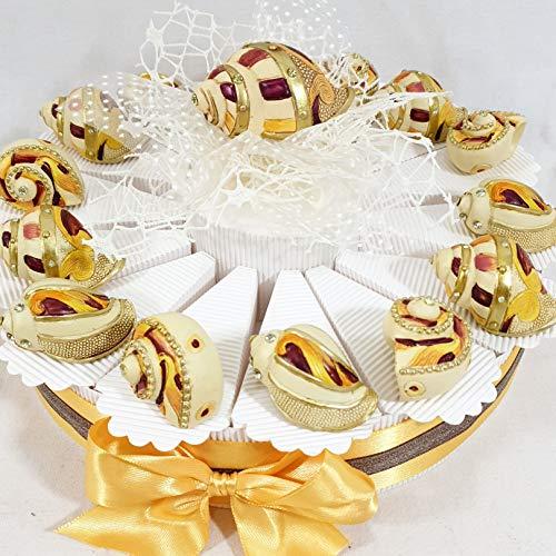 Bomboniere compleanno comunione cresima pensione a tema mare conchiglie marine (torta a 14 fette)