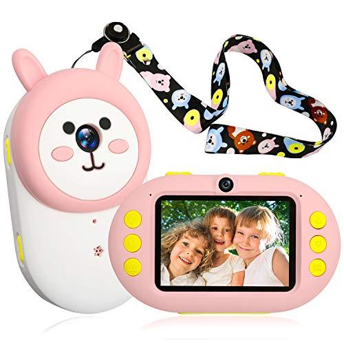 berssen Kinderkamera Digital Kamera für Kinder Videokamera 2,4 Zoll Farbdisplay mit Häschen Gehäuse Geschenk Spielzeug für Mädchen und Jungen(Rosa)