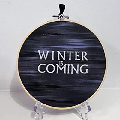 "Glow in the dark ""winter is coming"" Game of thrones inspired embroidered home decor wall hanging sampler"