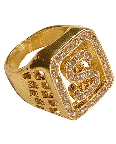 Dollar Ring Gold (Für Kostüme Erwachsene Rapper)