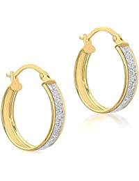 IBB London Womens Stardust Creole Earrings - Yellow Gold/Silver