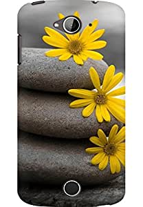 AMEZ designer printed 3d premium high quality back case cover for Acer Liquid Z530 (stones and flower)