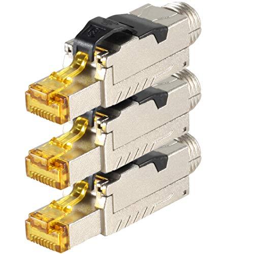 Plus Keystone Jack (1aTTack.de 3 x CAT 8 Netzwerkstecker Winkel RJ45 Werkzeuglos LAN Kabel Netzwerkkabel Patchkabel RJ45 Stecker CAT8 Crimpstecker Stecker Geschirmt Metallgehäuse 40Gbit/s kompatibel mit Cat5 Cat6 Cat7)
