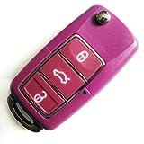 VWKS37BBB- INION® Ersatz Schlüsselgehäuse - LILA / VIOLETT / PURPLE - mit 3 Tasten Autoschlüssel Klappschlüssel Schlüssel mit Rohlingtyp (HAA) Fernbedienung Funkschlüssel Gehäuse ohne Transponder oder Elektronik.