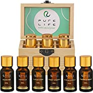 Pure Life Top 6 Essential Oils Set for Diffuser Aromatherapy, 100% Organic Fragrance Oil Kit for Humidifier, F