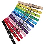 HOMIMP 12Pcs Leder Puppy ID Halsbänder Zuordnung Halsband für Hunde Katzen Wurfbox 15,2cm–25,4cm