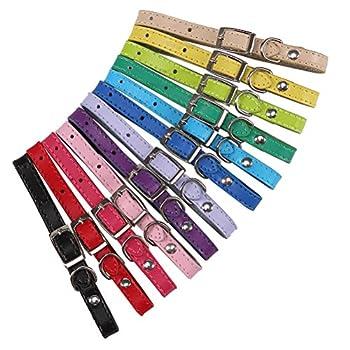 HOMIMP 12Pcs Collier d'identification pour Chiot Puppy ID Collier Cuir pour Chiens Chats 15,2cm?25,4cm