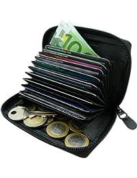 Universal Piel Tarjeta de Crédito Funda y cartera en un Tarjetas–Estuche para tarjetas de visita Dinero Bolsa Llave Monedero en negro o rojo