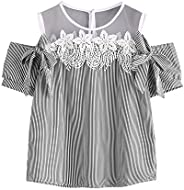 Foowni Women Short Sleeve Off Shoulder Lace Striped Blouse Casual Tops T-Shirt