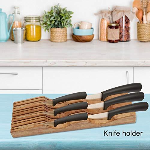 Cocoarm Bambus Messerblock für die Schublade Ohne Messer, Messerhalter Küchen Messerständer Messer Halterung Natur 43,2 x15,2 x 5,5 cm