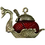 Crafticia Oxidized White Silver Metal Single Duck Shaped Glass Bowl Red Set Of 5 Decorative Antique Unique Traditional Handmade Handicraft Gift Item Home Table Wall Decor Pink City Rajasthani Showpiece :- 5 X 5 Inch