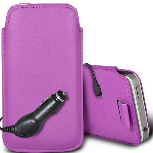 Brun/Brown - Samsung Galaxy V Plus Housse deuxième peau et étui de protection en cuir PU de qualité supérieure à cordon avec stylet tactile par Gadget Giant® Violet Clair & Car Charger