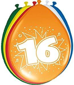 Folat 08216 - Globos de cumpleaños (16 unidades, 30 cm, 8 unidades), varios colores