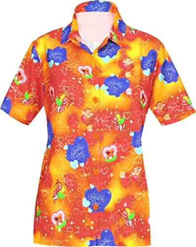 LA LEELA 3D HD Printed Hawaiian Shirt for Valentine Day Present Couple Heart Love Cute Cupid Orange_AA203 XXL