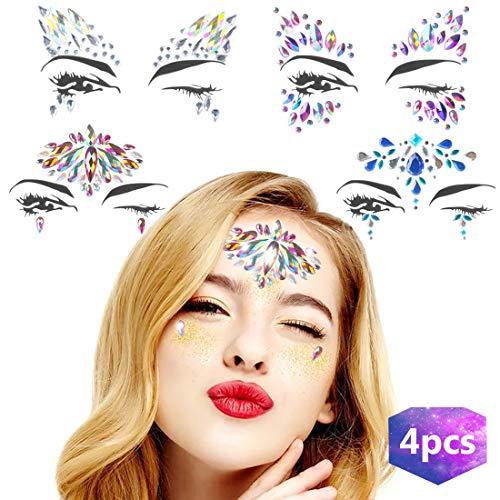 Juwelen Aufkleber 4 Sets Gesicht Schmucksteine Edelsteine Gesicht -
