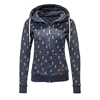 Hachiro Damen Sweatjacke Hoodie Sweatshirt Kapuzenpullover (X-Small, Navy/Anchors)