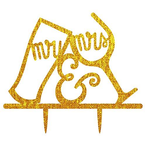 MRS Buchstabe Hochzeit Tortenaufsatz Acryl Shining Bride Groom Engagement Jahrestag Kuchen Dekoration Golden (Dr Seuss Cupcake Toppers)