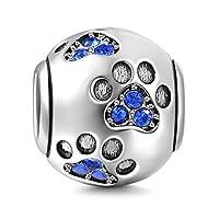 925 Sterling Silver Dog Charm Paw Charm Pet Charm Animal Charm Anniversary Charm Christmas Charm for Pandora Charms Bracelet (Blue)