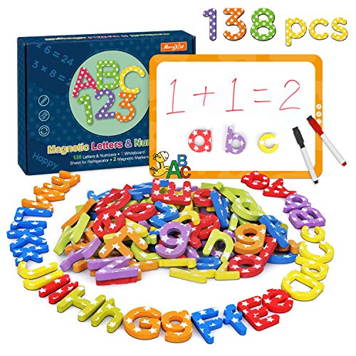 Magnetic Letters and Numbers -138Pcs Kids Educational Alphabet Refrigerator Magnets-Gift Set with Dry Erase Magnetic Board,Best Preschool Learning Toys for Kids Spelling, Counting, Color Recognition