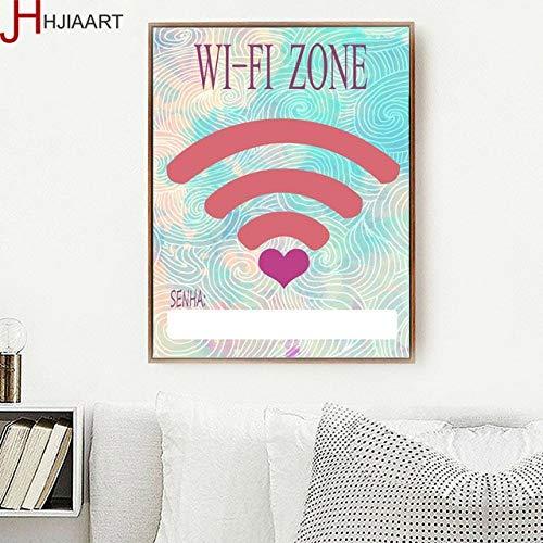 sanzangtang Cartoon Free WiFi leinwand malerei pop Art Hotel café Bild Moderne Wohnzimmer Dekoration Kunstwerk rahmenlose 50x75 cm