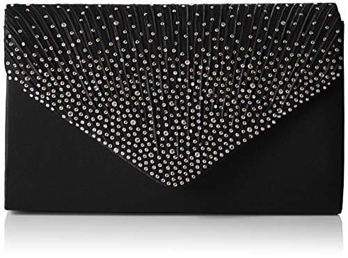 Swankyswans Damen Abby Diamante Envelope Style Bag Tasche, Einheitsgröße Schwarz (Schwarz)