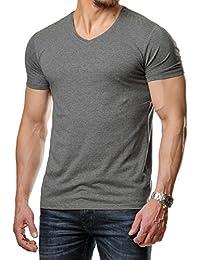 Young Rich Herren T-Shirt Basic Regular Fit V Ausschnitt Schwarz Weiß Grau  Rot YR1700 dc4d6dd8d8