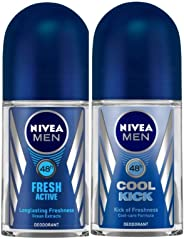 Nivea Deo Fresh Active Roll On, 50ml & Nivea Deo Cool Kick Roll On, 50 ml