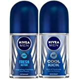 Nivea Deodorant Roll-On for Men, Fresh Active Original, 50ml and Deodorant Roll On for Men, Cool Kick, 50ml