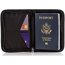 Cartera de Viaje para Pasaporte con Protección RFID - Organizador de Documentos, Billetes, Pasaporte, Efectivo, Dinero, Tarjeta de crédito Cartera para Hombres y Mujeres, Negro