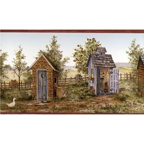FDB50166 - Coeur du Pays Shed Outhouse Terre cuite Wallpaper Border