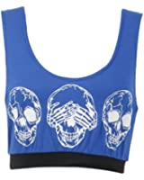 Womens Army Leopard Skull Print Crop Sports Bra Vest Top (M/L (UK 12-14), Skull/Royal Blue)