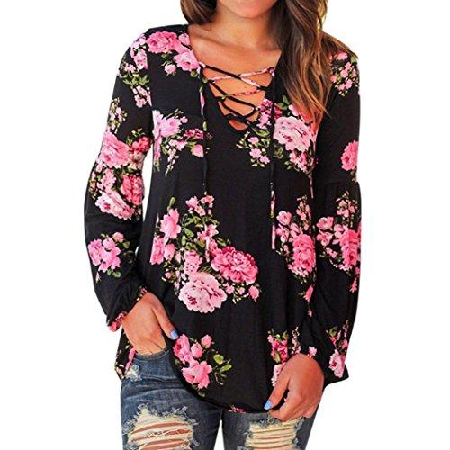 3-knopf-v-neck (OVERDOSE Damen Lässige Blumen Splice-Streifen Druck Rundhalsausschnitt Pullover Bluse Tops T-Shirt (S, B-C-3))