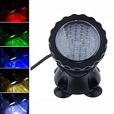 Kasstino Waterproof Colorful 36 LEDs RGB Flash Submersible Light Underwater Aquarium Spotlight Fish Tank Gardens Pond Lamp